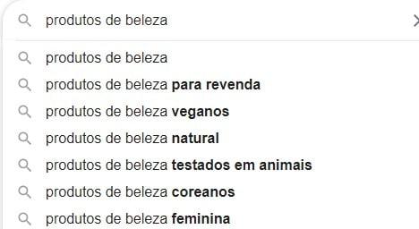 Lista produtos buscadas no google
